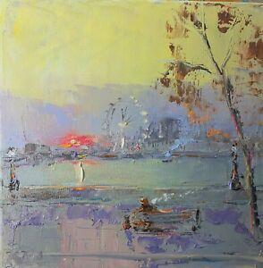 London-oil On Canvas-original Painting-london eye-Thames-dog-sunset
