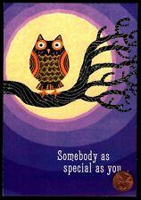Halloween Owl Moon Branch Bird - GLITTERED - Happy Halloween Greeting Card - NEW
