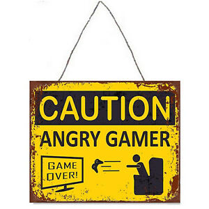 """Vintage Look Metal Plaque """"Caution - Angry Gamer""""  Novelty Wall Sign 33cm x 25cm"""