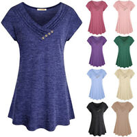 Women Solid Swing Short Sleeve Tunic Tops Blouses Loose Plus Size T-Shirt Dress