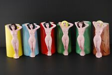 Vintage PINUP GIRL BEER MUGS  set of 6 pin up girly nude stripper coffee cups
