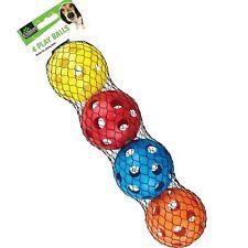 4 x 7cm Tough Rigid Plastic Play Balls Dog Cat Puppy Pet Toy Safe Chew Teething