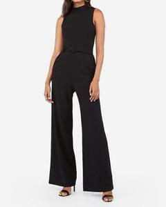 new EXPRESS belted zip back wide leg sleeveless jumpsuit xs black