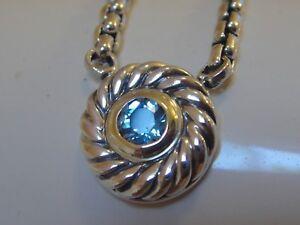 $595 DAVID YURMAN 14K GOLD SS BLUE TOPAZ COOKIE BOX CHAIN NECKLACE