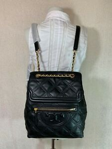 NEW Tory Burch Black Leather Soft Fleming Quilted Backpack $598