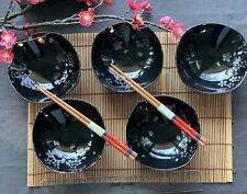 Japanese 5 Small Bowl Set Black w/Silver Cherry Blossom Ceramic Made in Japan