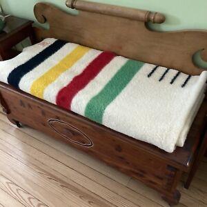 VTG Hudsons Bay Company 4 Point Blanket Wool Cream Green Red Yellow Blue Stripe