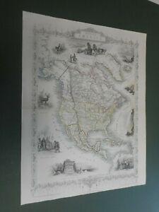 100% ORIGINAL NORTH AMERICA  MAP BY J TALLIS C1858 VGC COLOUR COLOUR NIAGARA