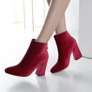 Round Toe Velvet Block Chunky High Heel Women's Ladies Dress Ankle Boots Bootie