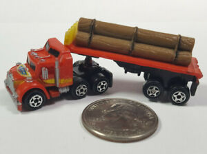 Heavy Workers Red Semi Truck Tractor Trailer 1 Micro Machines Galoob Rare Vtg