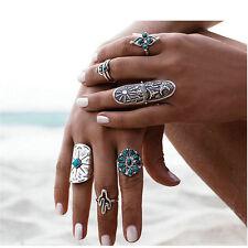 9PCS/Set Vintage Silver Ethnic Ring Women Boho Style Geometry Finger Rings Gift