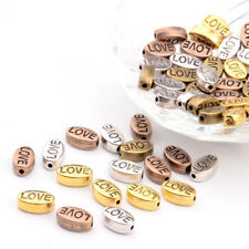 50x Tibetan Stamping Love Word Metal Beads Oval Unique Spacers Mixed Color 10mm