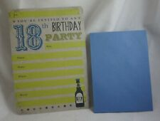 40x 18th Birthday Party Invite Drink Paper Invitations Card Green With Envelopes