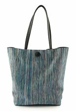 BORSA DONNA IN VERA PELLE MADE IN ITALY EMPORIO CATTANI VERA RIGHE BLU