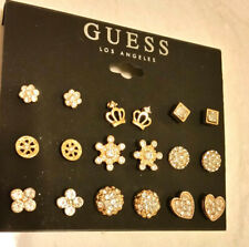 NEW GUESS LOS ANGELES GOLD TONE 9  PCS  EARRINGS  WOMENS FASHION JEWELRY