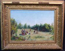 1884 tableau signé MARIO VIANI D'OVRANO huile panneau déjeuner champêtre 46X37c