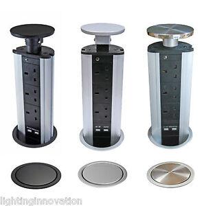 PULL POP UP ELECTRICAL PLUG SOCKET 2 USB KITCHEN WORKTOP BLACK SILVER STEEL TOP
