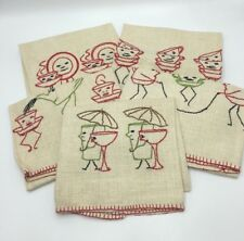 Vintage Hand Embroidered Flax Linen Tea Towels Anthropomorphic Cups Dishes Fun