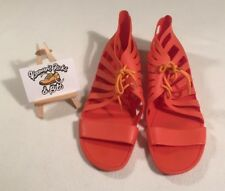 Givenchy Lace-Up Cage Orange Jelly Gladiator Sandals UK 7 EU 40 MADE IN ROME