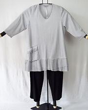 SINNE design: Rüschen Tunika Shirt Baumwolle Wash Out hellgrau Lagenlook Gr. 3