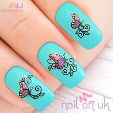 Purple & Pink Butterfly Glitter Adhesive Nail Stickers, Decals, Art 01.02.065