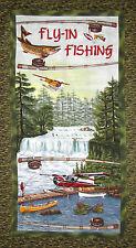 Fishing Fabric - Fish Fisherman Boat Scenic Riverwoods Sport Fishing - PANEL