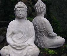 Buddha 39cm Skulptur Steinfigur Koi Teich Garten betongrau Statue frostfest