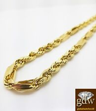 "Real 10k Yellow Gold Men's Milano Rope Chain Necklace, 22"" 7mm, Cuben, Franco."