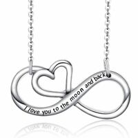 *UK* 925 Silver Plt I Love You To The Moon And Back Infinity Heart Necklace Gift