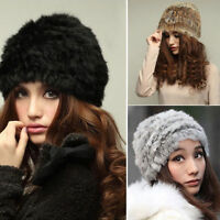 Women Russian Real Rabbit Fur Knitted Cap Nice Women Winter Warm Beanie Hat