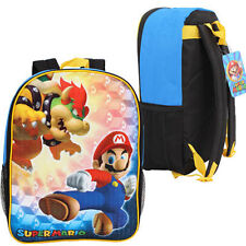 "16"" SUPER MARIO BROS BACKPACK Kids Boys School Large Bag Bookbag NEW"