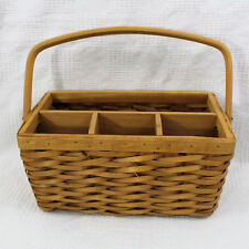 Wicker and Wood Utensil Flatware Caddy 4 Compartments