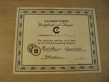 """RARE 1943 WWII Certificate of Service~""""U. S. CROP CORPS""""~Women Land Army~FARMS~"""