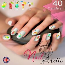 40 x Nail Art Water Transfers Stickers Wraps Decals Champagne Party Night Out