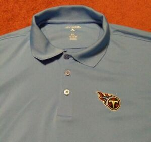 TENNESSEE TITANS NLF ANTIGUA MENS SIZE XXL 100% POLYESTER LIGHT BLUE POLO SHIRT