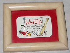 """Blond WWJD 4X5"""" What Would Jesus Do Sign Picture Frame"""