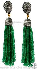Silver Victorian Tassel Earring Jewelry 4.01Cts Rose cut Diamond Emerald Studded
