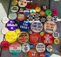 44 Vintage HUMOR Pinback Buttons Pins 60's-80's Slogans Streaking Computer Kiss