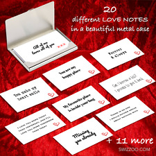 20 LOVE NOTES romantic cards messages Birthday Anniversary Valentine metal case