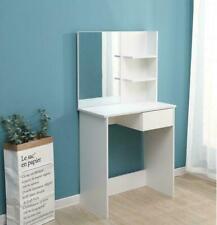 Vanity Dressing Table Makeup Desk w/ Mirror & Shelves White Bedroom NEW