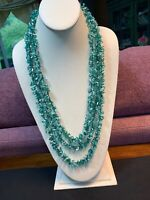Vintage Boheniman Green Aqua Interesting  Seed Multi Strand Long Necklace Boho