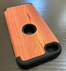 For iPod Touch 5th 6th 7th Gen - Hard Hybrid Armor Impact Case Cover Brown Wood