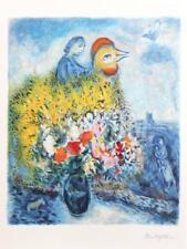 Le Cog avec le Bouquet Jaune by Marc Chagall Lithograph Art Print 35x24.5