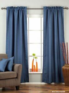 Blue Rod Pocket Matka Raw Silk Curtain / Drape with lining   - 80W x 63L - Piece
