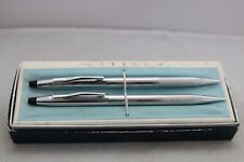 More details for vintage (c1976) cross century lustrous chrome ballpoint & pencil, cased