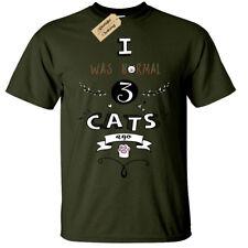 I Was Normal 3 Gatos Hace Camiseta Hombre Gato Divertido Amante Regalo