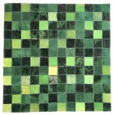 SURYA Rug Craft Leather Hair on Hide Carpet Tile Emerald Lime Black 18x18