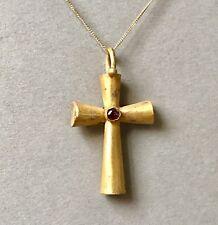 Incroyablement beau antique Byzantine or Pendentif Croix avec Grenat