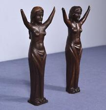 "*13"" Pair of Antique Carved Figures Posts Pillars Architectural Oak Women"