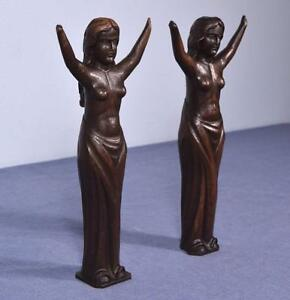 "*13"" Pair of Antique Carved Figures Posts Pillars Architectural Oak Women"